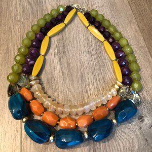 Anthropologie Statement Necklace Teal Orange Green